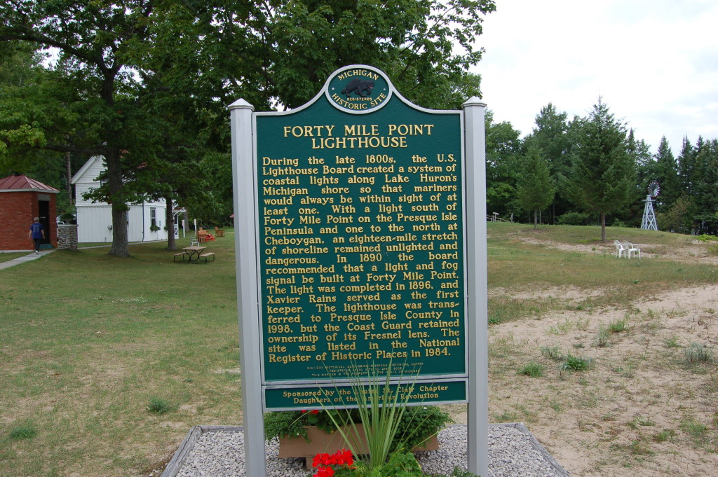Forty Mile Point Lighthouse Michigan Marker