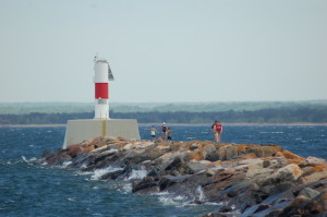 Marquette Breakwater Light People Walking Michigan
