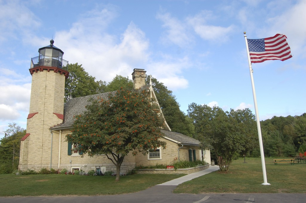 McGulpin Point Lighthouse Flag AMERICA