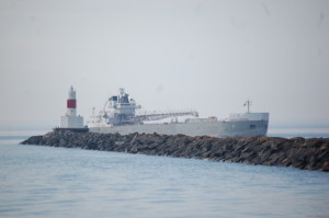 Presque Isle Harbor Breakwater Light Freighter