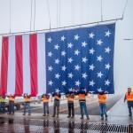 American Flag on the Mackinac Bridge Flies for Memorial Day