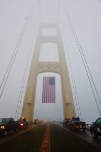 flag on the Mackinac Bridge Memorial Day