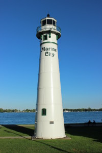 Peche Island Rear Range Light Marine City Vertical