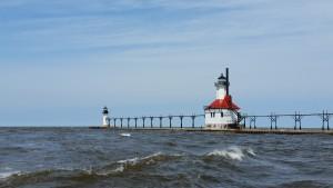St. Joseph Pier Lights Lake Michigan