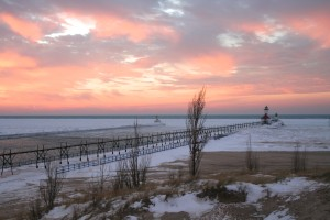 St. Joseph Pier Lights Michigan Sunset Tiscornia Park