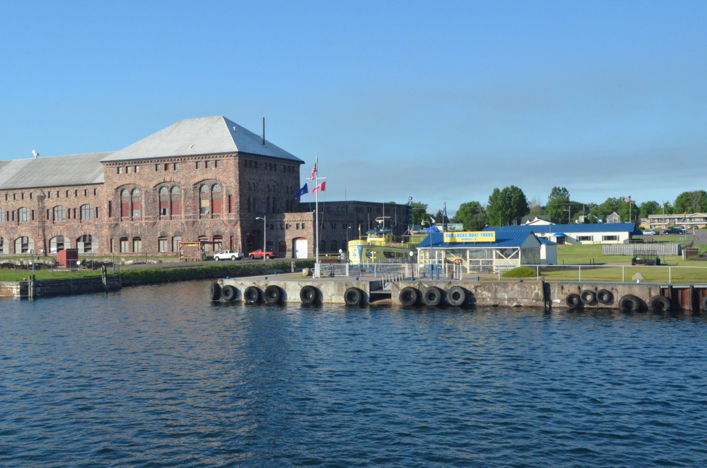 Soo Locks Boat Tours Leaving Dock Sault Ste. Marie