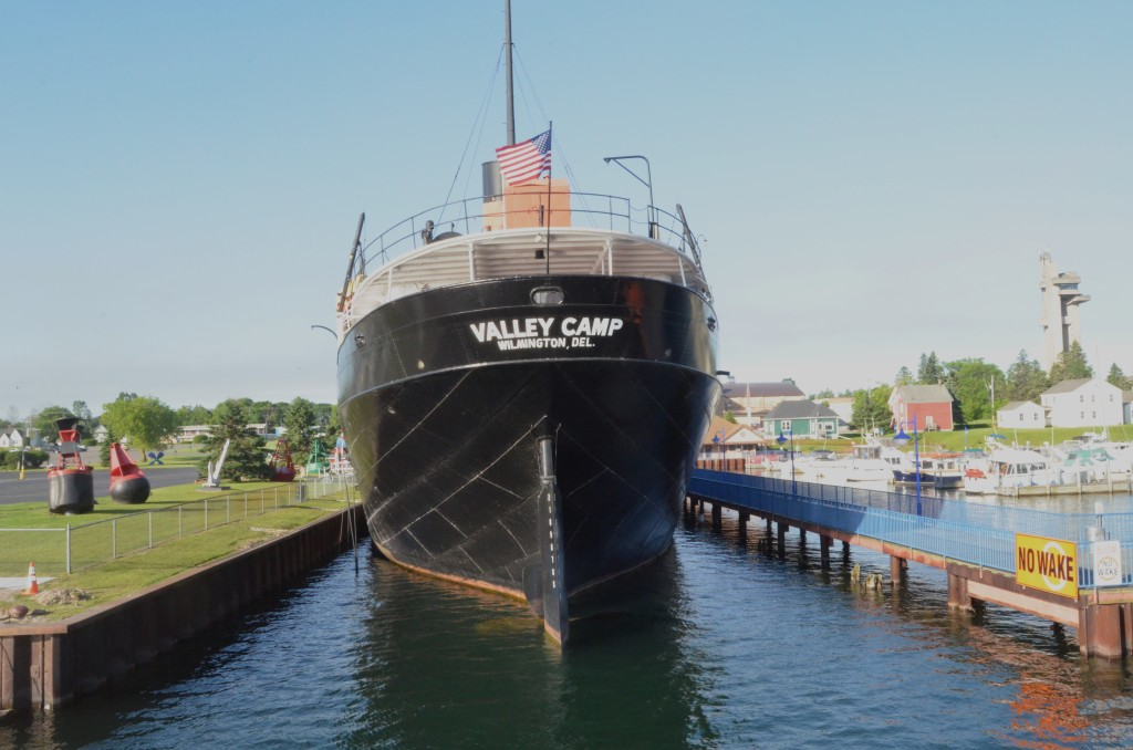 Soo Locks Boat Tours Passing Valley Camp Freighter