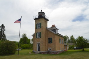 Ontonagon Lighthouse American Flag Michigan Tour