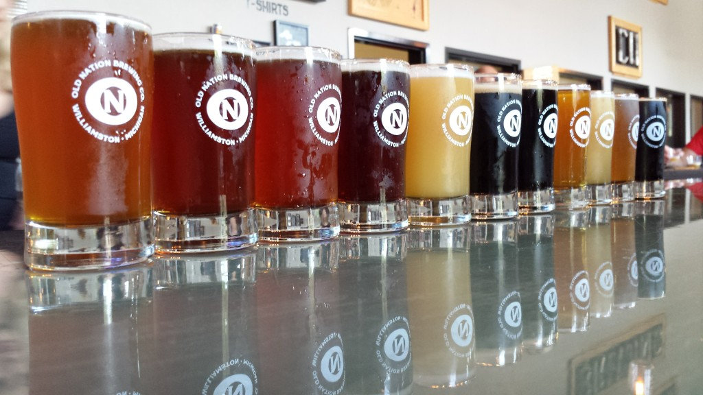 A beautiful flight from our first visit to Old Nation Brewing Company in Williamston