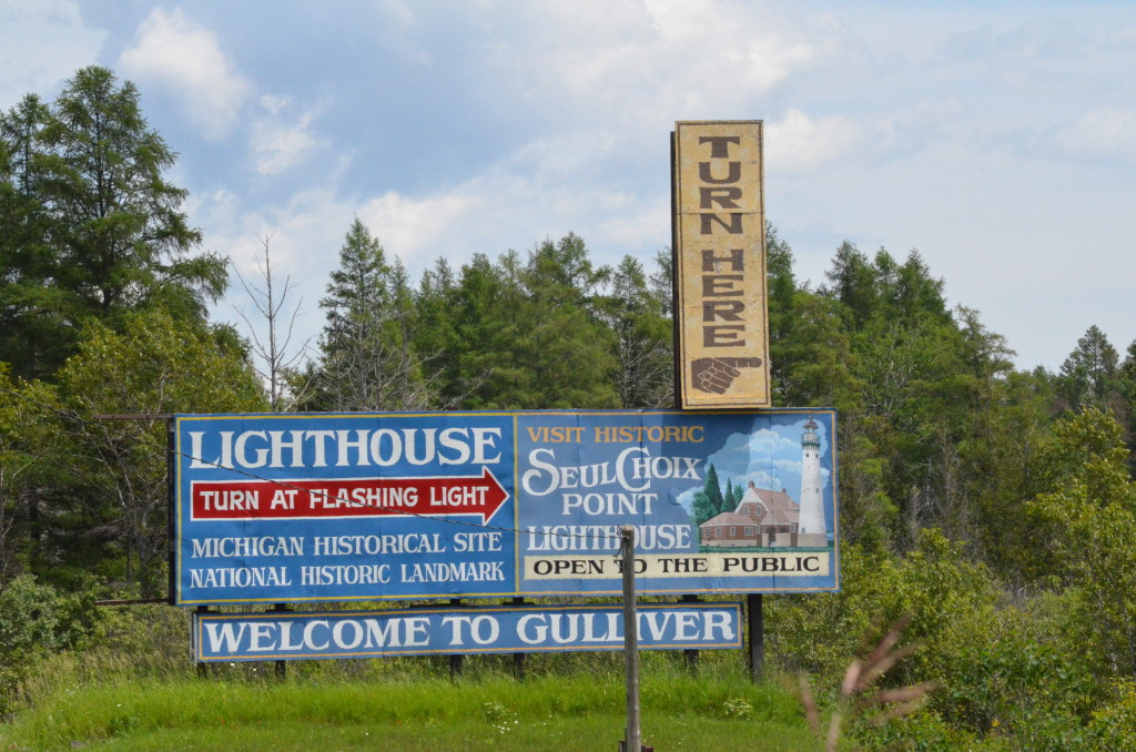 Seul Choix Point Lighthouse Gulliver Michigan US2 Sign
