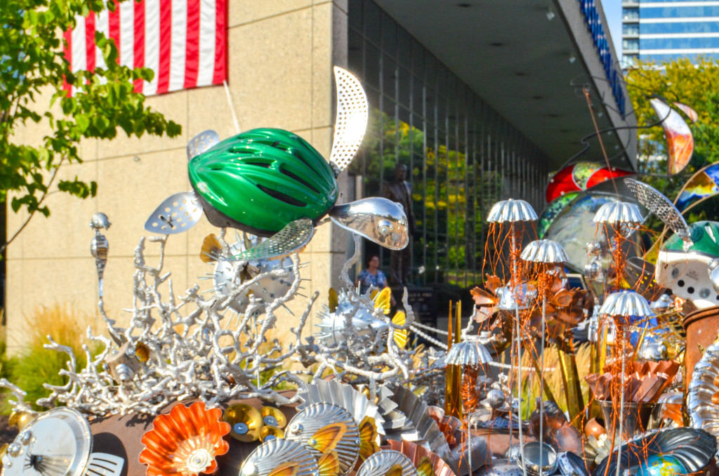 """""""Changing Oceans"""" by Justin LaDoux, in front of the Gerald R. Ford Presidential Museum"""