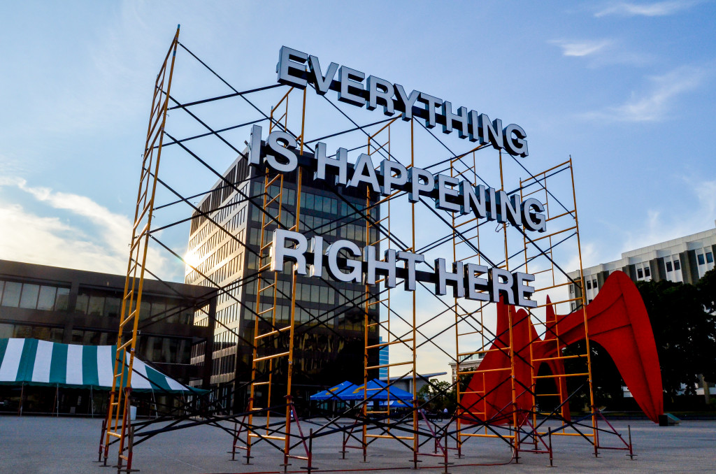"""Everything is Happening Right Here"" by Justin Langlois and Hiba Abdallah, at Calder Plaza"