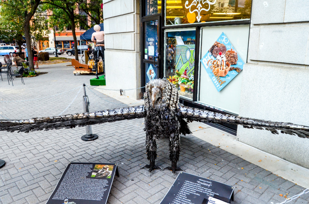 """Freebird"" by David Satterwhite, in front of Kilwin's on Monroe Center"