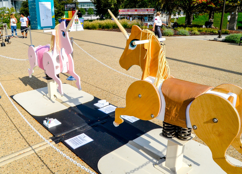 """""""Loquacious and Lovely"""" by Sophi Kravitz, in front of the Gerald R. Ford Presidential Museum"""