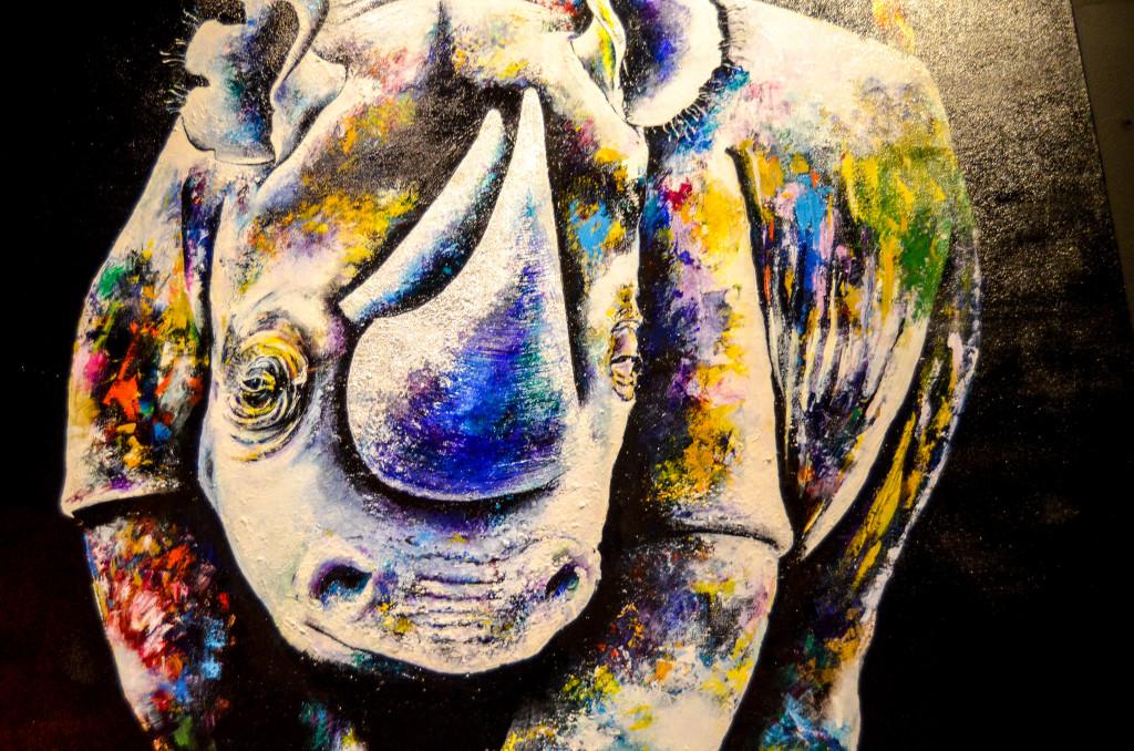 """""""Rhino"""" by Bountom Vongkaysone, inside the B.O.B."""