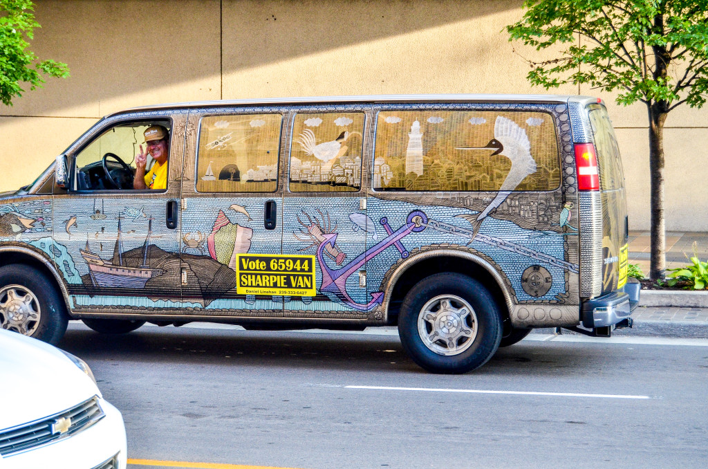 """Sharpie Van"" by Daniel Linehan, various locations but based out of Pearl St. Burger King"