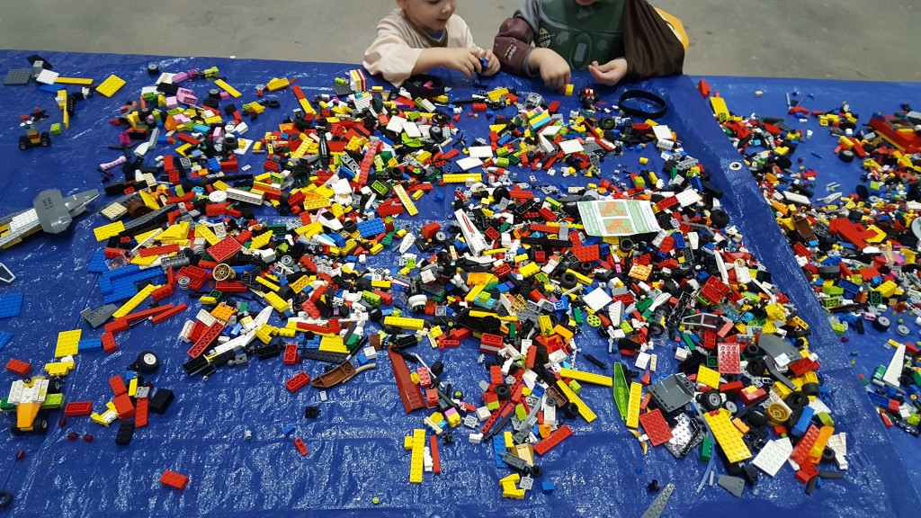 There was a long table of LEGOs for kids to play with