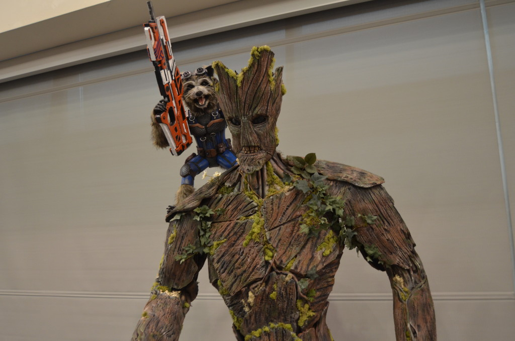 This year, Rob Miller made a life size replica of Groot and Rocket Raccoon from Guardians of the Galaxy