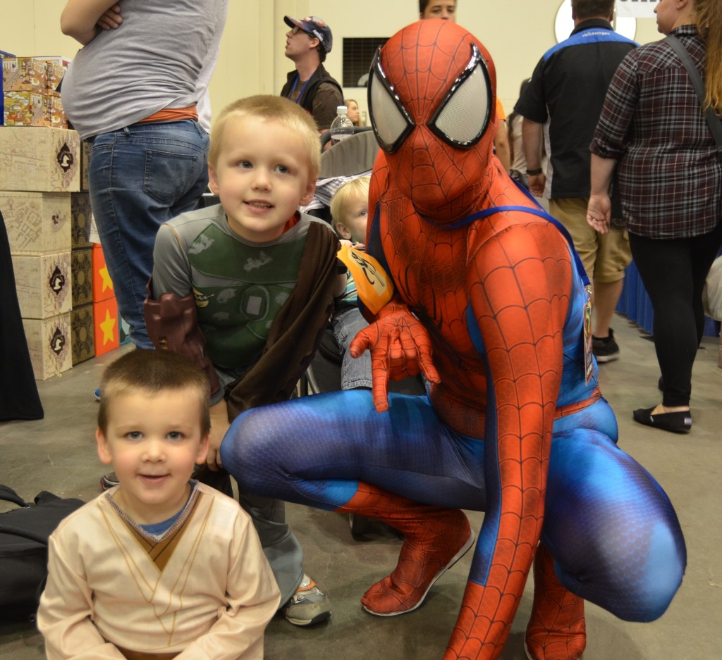 This fan dressed as Spider-Man was nice enough to pose with my boys, one of their favorite moments