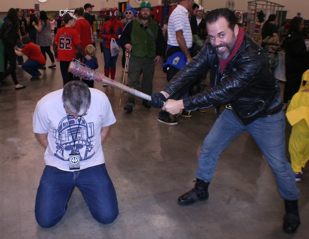 John Marks is also an excellent cosplayer. Here he is as Negan from The Walking Dead, showing me Lucille