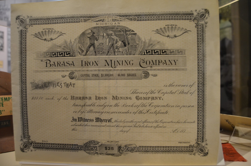 Michigan Iron Industry Museum Stock Certificate