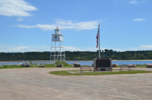 Grand Marais Harbor Lights MI Fisherman's Memorial