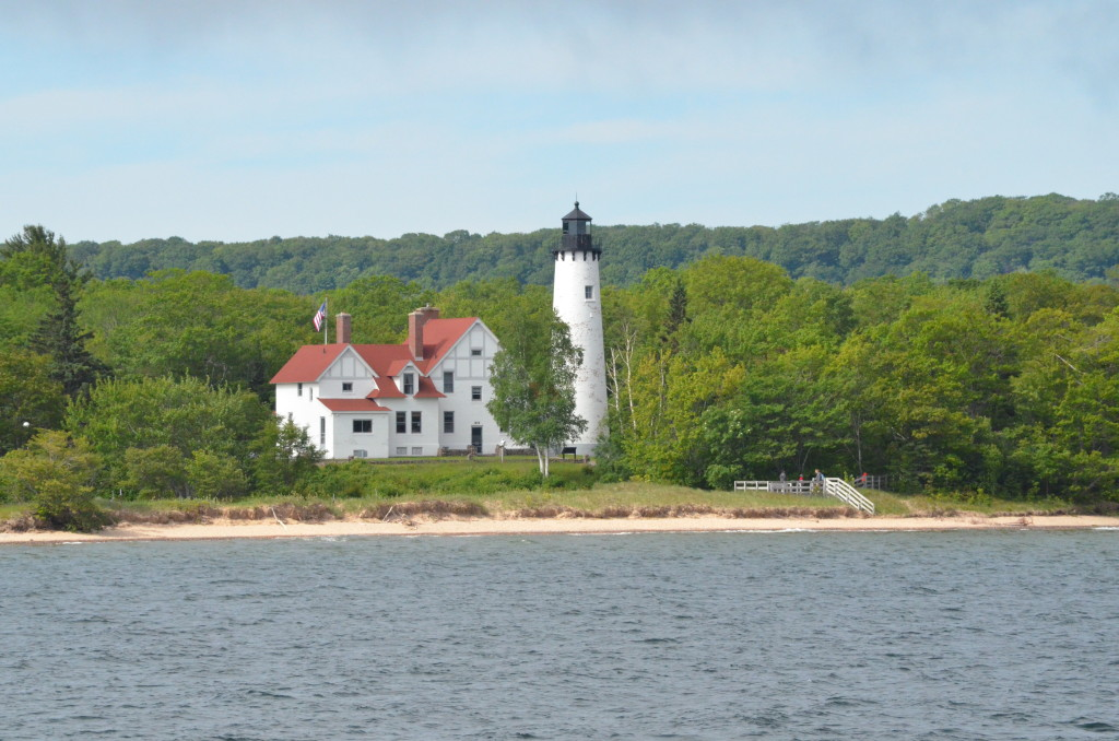 Point Iroquois Lighthouse seen from Soo Locks Boat Cruise