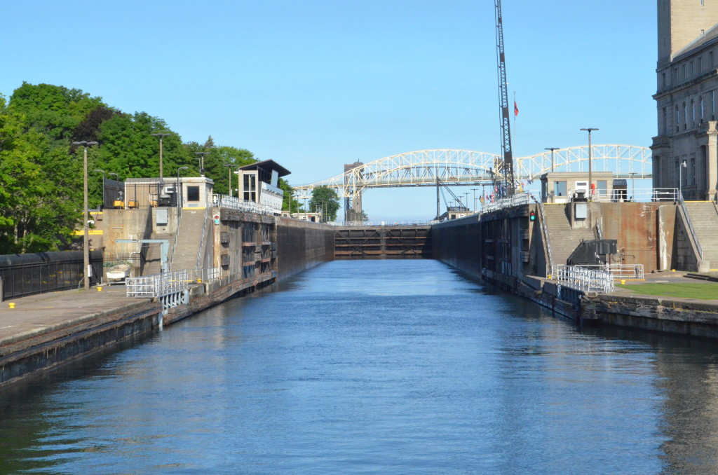 Entering the Soo Locks on a Soo Locks Boat Cruise