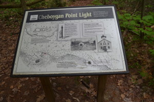 Cheboygan State Park Lighthouse Information Sign Ruins