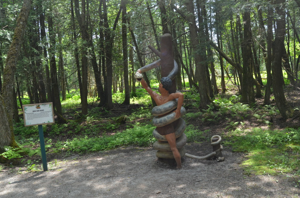 Dinosaur Gardens Man Fighting Snake Ossineke Michigan