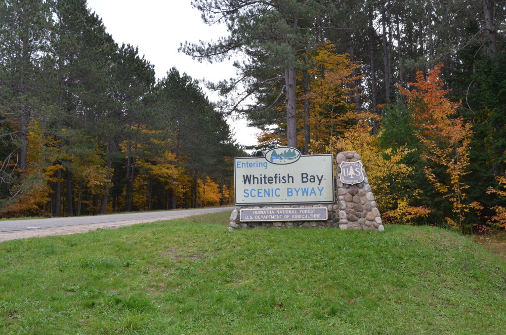 Fall Color Whitefish Bay Scenic Byway Sign