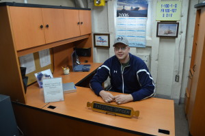 Icebreaker Mackinaw Maritime Museum Chris at Desk