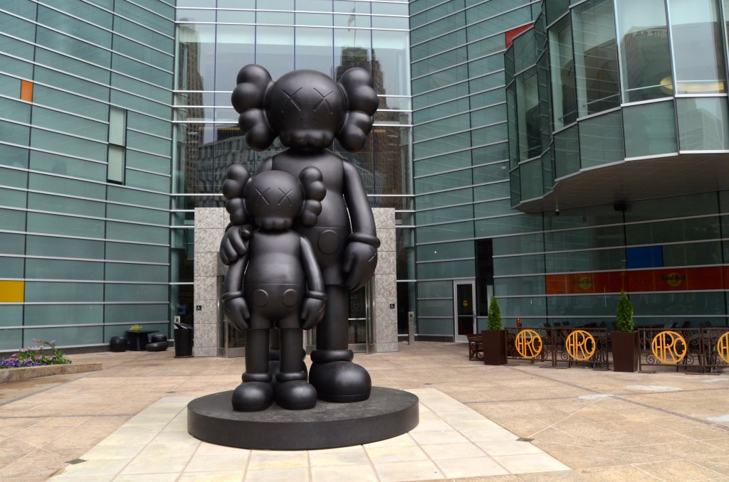 Waiting sculpture by KAWS, Detroit