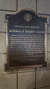 Baseball Reserve Clause Michigan Legal Milestone