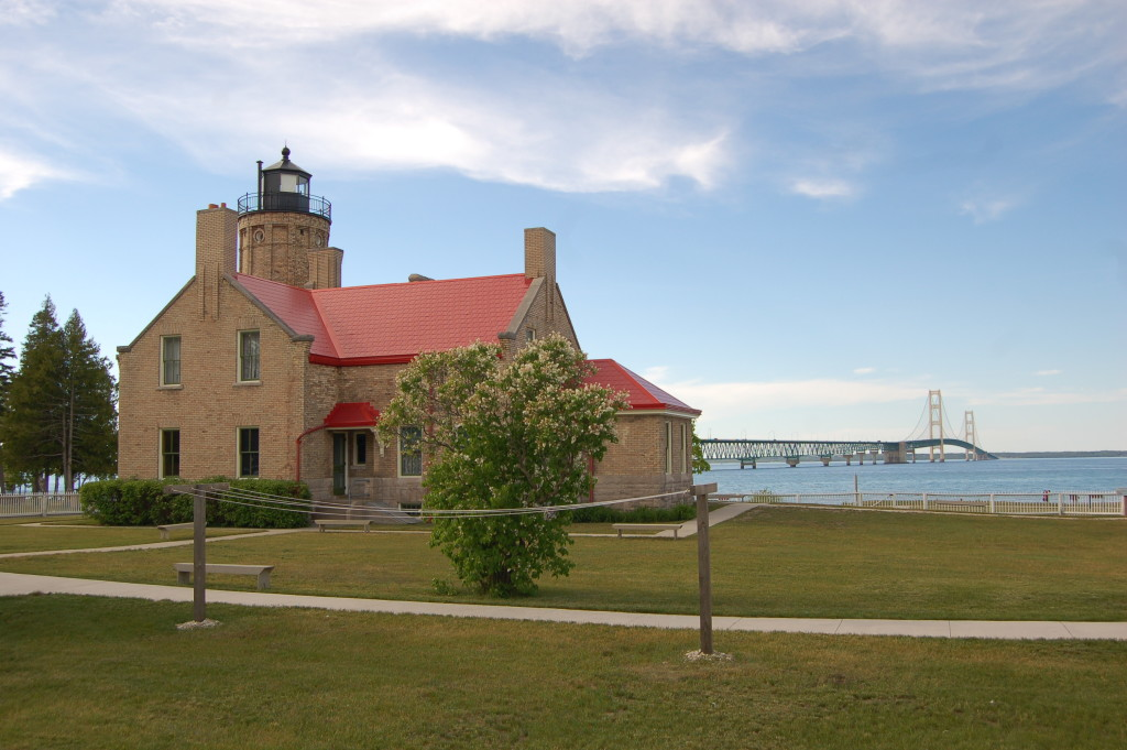 Old Mackinac Point Lighthouse Bridge Lake Huron