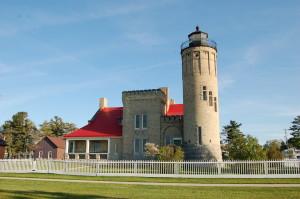 Old Mackinac Point Lighthouse Sunshine Fence