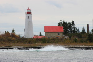 Thunder Bay Island Lighthouse Waves Lake Huron Michigan