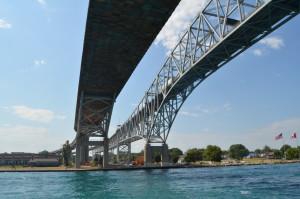 Huron Lady Cruises Under Blue Water Bridge