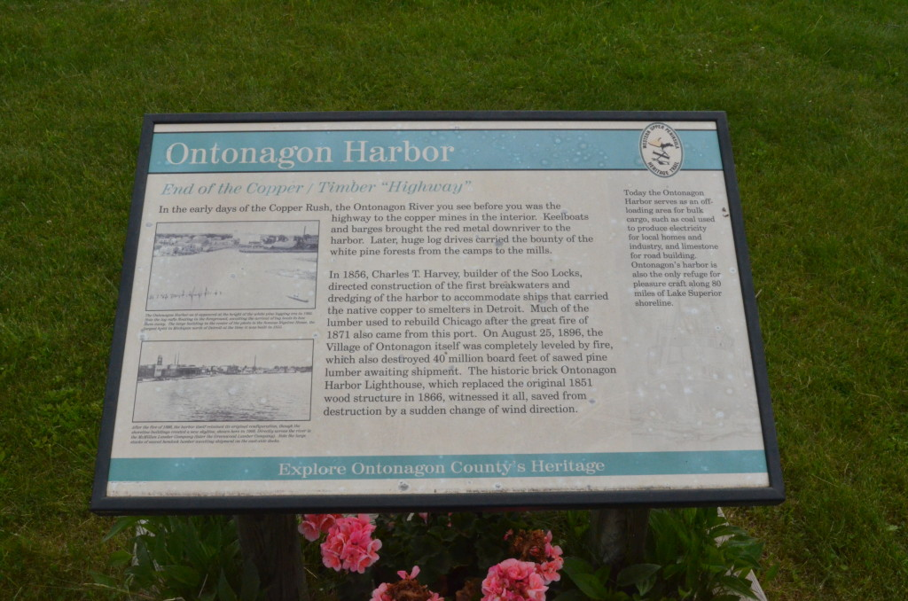 Ontonagon Lighthouse Information Sign