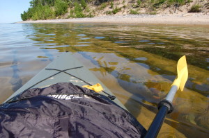 kayaking over a shipwreck on Lake Superior near Au Sable Point