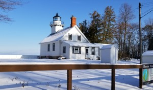 Old Mission Pont Lighthouse Winter Michigan