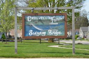 The Famous Croswell Swinging Bridge Sign Michigan