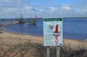 Manistique East Breakwater Lighthouse Sign Lake Michigan
