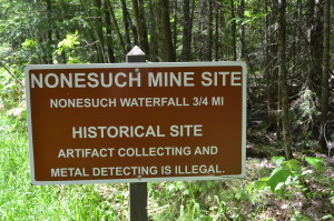 Nonesuch Mine and Falls Porcupine Mountains Sign