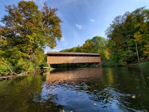 Whites Bridge Fall Color Lowell Michigan