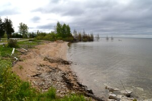 Manistique Boardwalk Sandy Shoreline Lake Michigan