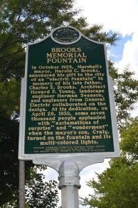 Brooks Memorial Fountain Marshall Michigan History