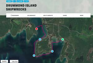 Drummond Island Shipwrecks Kayak Map