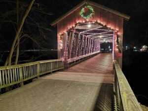 Ada Village Winter Wonderland Covered Bridge