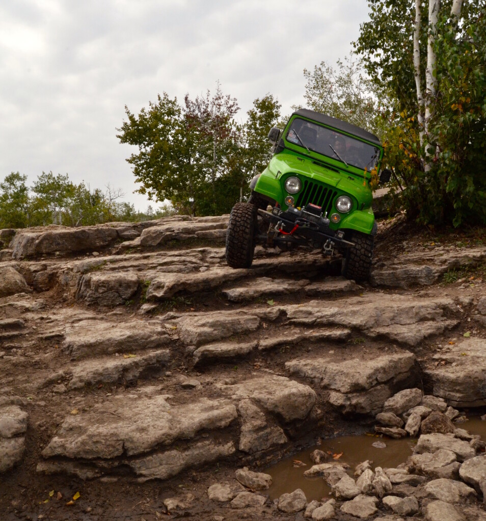 Jeep at The Steps at Marblehead, Drummond Island, September